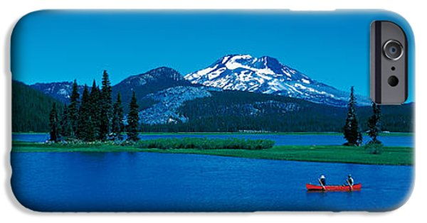 Canoe iPhone Cases - South Sister Canoeing Sparks Lake Or Usa iPhone Case by Panoramic Images
