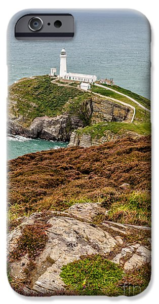 Lighthouse Digital iPhone Cases - South Stack Lighthouse iPhone Case by Adrian Evans