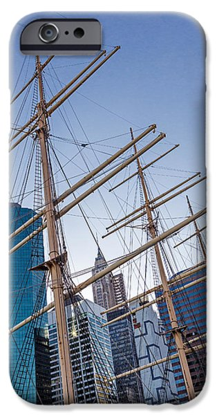 Tall Ship iPhone Cases - South Street Seaport and Financial District iPhone Case by Susan Candelario