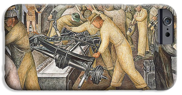 Machinery Paintings iPhone Cases - South Wall of a Mural depicting Detroit Industry iPhone Case by Diego Rivera