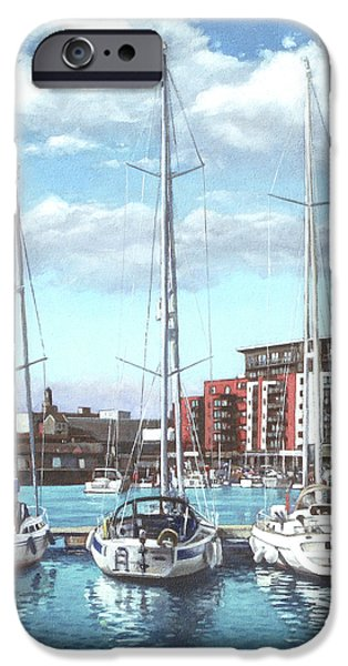 Boats In Water Paintings iPhone Cases - Southampton Ocean Village marina iPhone Case by Martin Davey