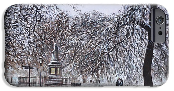Park Scene Paintings iPhone Cases - Southampton Watts Park in the Snow iPhone Case by Martin Davey