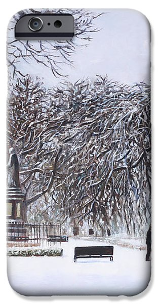 Southampton Watts Park in the Snow iPhone Case by Martin Davey