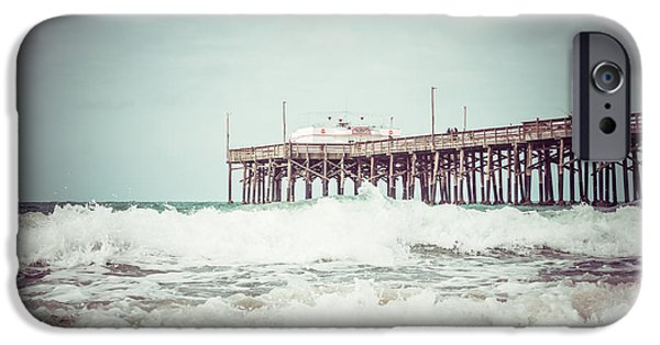 Diners iPhone Cases - Southern California Pier Vintage 1950s Picture iPhone Case by Paul Velgos