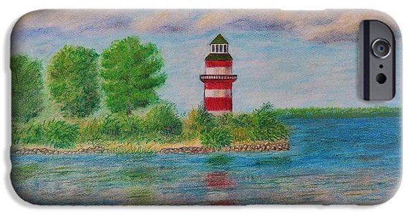 Lighthouse Pastels iPhone Cases - Southern Harbor Lighthouse iPhone Case by Andrew Pierce