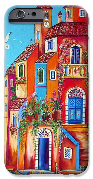 Roberto Paintings iPhone Cases - Southern Italy Amalfi Coast Village iPhone Case by Roberto Gagliardi