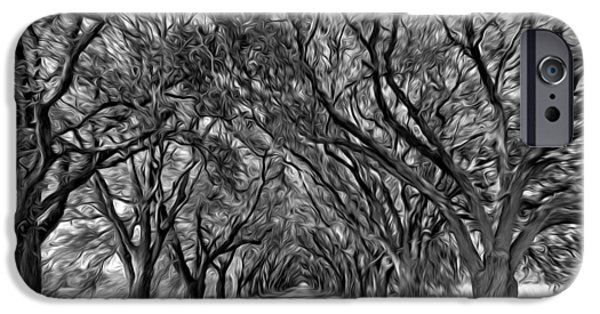 Overhang Digital iPhone Cases - Southern Journey - Oil bw iPhone Case by Steve Harrington