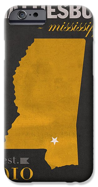 Hattiesburg iPhone Cases - Southern Mississippi Golden Eagles Hattiesburg College Town State Map Poster Series No 099 iPhone Case by Design Turnpike