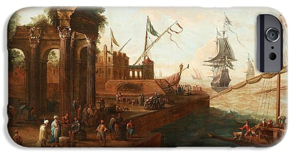 Landscape With Figure iPhone Cases - Southern Port With Figures And Ships iPhone Case by Abraham Storck