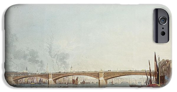 River iPhone Cases - Southwark Bridge, West Front, From Bankside, Looking Towards London Bridge Colour Litho iPhone Case by English School