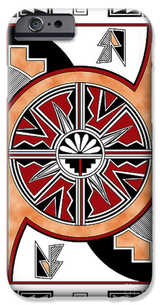 Hightower iPhone Cases - Southwest Design Six in Red iPhone Case by Tim Hightower