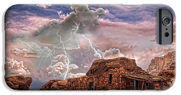 Lightning Images iPhone Cases - Southwest Navajo Rock House and Lightning Strikes HDR iPhone Case by James BO  Insogna
