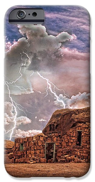 Southwest Navajo Rock House and Lightning Strikes HDR iPhone Case by James BO  Insogna