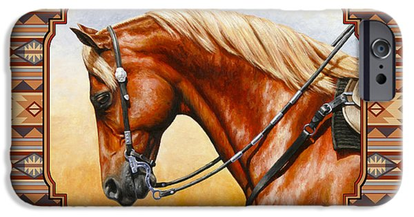 Tack iPhone Cases - Southwestern Quarter Horse Pillow iPhone Case by Crista Forest