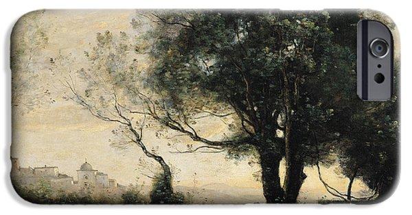 Italian Landscape iPhone Cases - Souvenir Of Castel Gandolfo Oil On Canvas iPhone Case by Jean Baptiste Camille Corot
