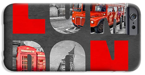 Selective Coloring Art iPhone Cases - Souvenir of London iPhone Case by Delphimages Photo Creations