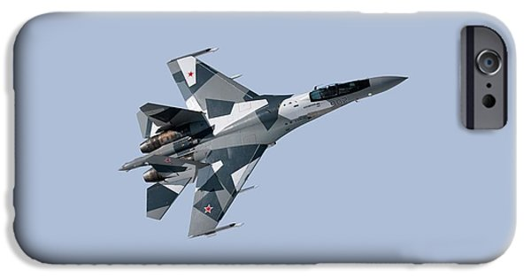 Flies Mixed Media iPhone Cases - Soviet Aggression Su-27 April 2014 iPhone Case by L Brown