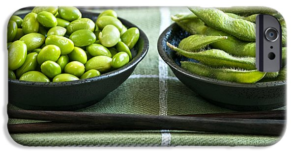 Protein iPhone Cases - Soy beans in bowls iPhone Case by Elena Elisseeva