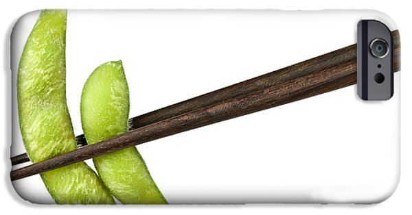 Protein iPhone Cases - Soy beans with chopsticks iPhone Case by Elena Elisseeva