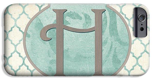 Graphic Design iPhone Cases - Spa Monogram iPhone Case by Debbie DeWitt