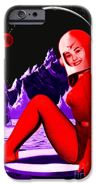 1950s Movies iPhone Cases - Space Babe iPhone Case by Sasha Keen