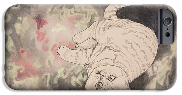 Outer Space Drawings iPhone Cases - Space Cat - Lagoon Nebula iPhone Case by Theresa Hentz