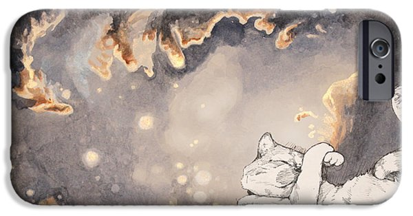 Outer Space Drawings iPhone Cases - Space Cat - Magellanic Cloud iPhone Case by Theresa Hentz