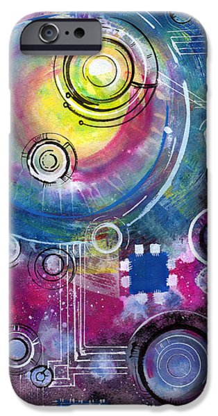 Circuit Paintings iPhone Cases - Space Circuit iPhone Case by Jennifer Pavia