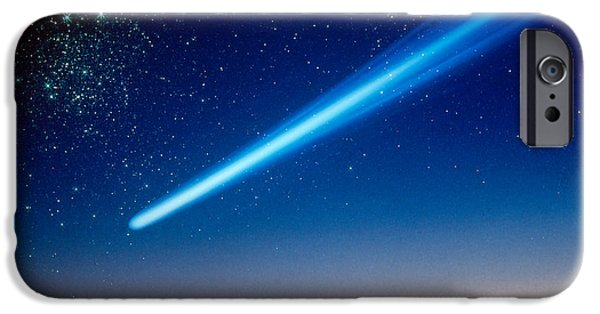 Comets iPhone Cases - Space, Comet Speeding Across The Night iPhone Case by Panoramic Images