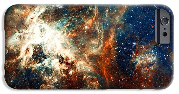 Nebulas iPhone Cases - Space Fire iPhone Case by The  Vault - Jennifer Rondinelli Reilly