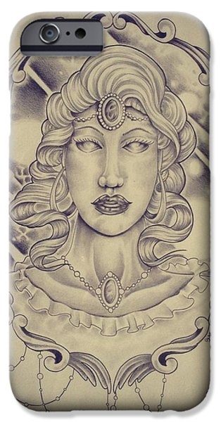 Outer Space Drawings iPhone Cases - Space goddess iPhone Case by Jon Mcclanahan