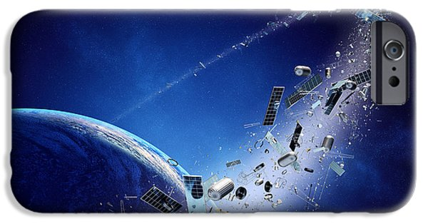 Waste iPhone Cases - Space junk orbiting earth iPhone Case by Johan Swanepoel