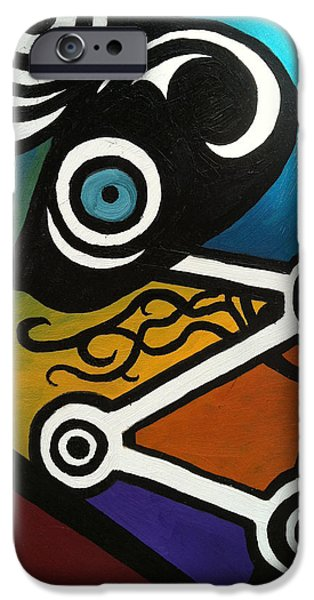Outer Space Paintings iPhone Cases - Space Machine iPhone Case by Dana Haley