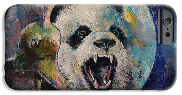 Trippy Paintings iPhone Cases - Space Panda iPhone Case by Michael Creese