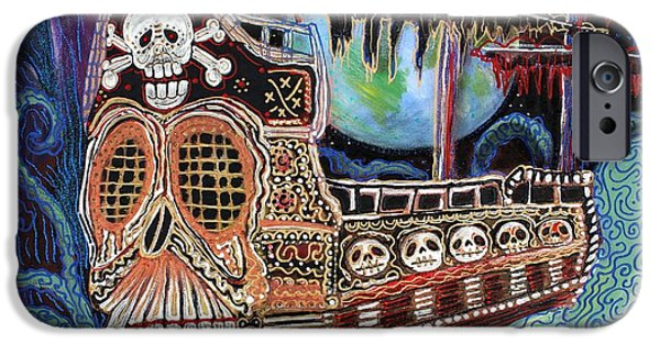 Pirate Ships Paintings iPhone Cases - Space Pirates iPhone Case by Laura Barbosa