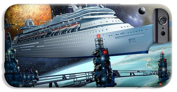 Jester Digital iPhone Cases - Space Ship iPhone Case by Ciro Marchetti