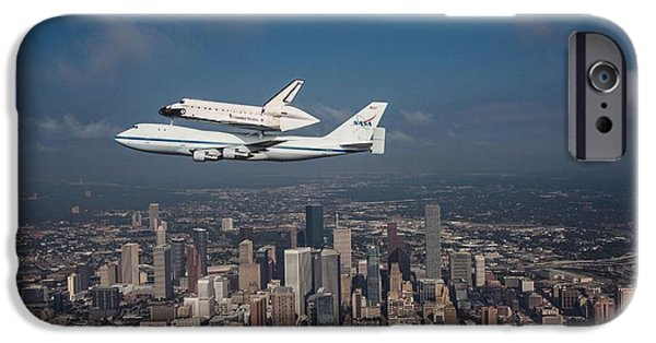 Office Space Photographs iPhone Cases - Space Shuttle Endeavour Over Houston Texas iPhone Case by Movie Poster Prints