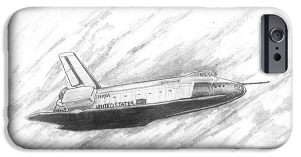 Enterprise Drawings iPhone Cases - Space Shuttle Enterprise iPhone Case by Michael Penny