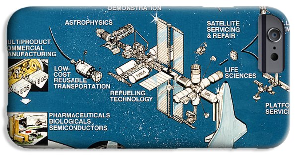 1990 iPhone Cases - SPACE STATION, 1990s iPhone Case by Granger