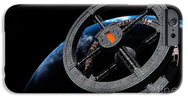 Copy Machine Digital Art iPhone Cases - Space Station 5 In Earth Orbit iPhone Case by Rhys Taylor