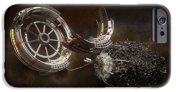 Science Fiction Mixed Media iPhone Cases - Space Station Construction iPhone Case by Bryan Versteeg