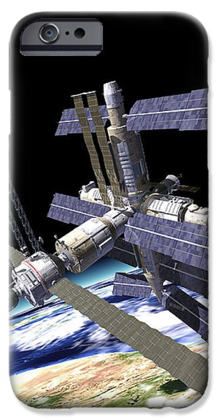 Space Station In Orbit Around Earth iPhone Case by Leonello Calvetti