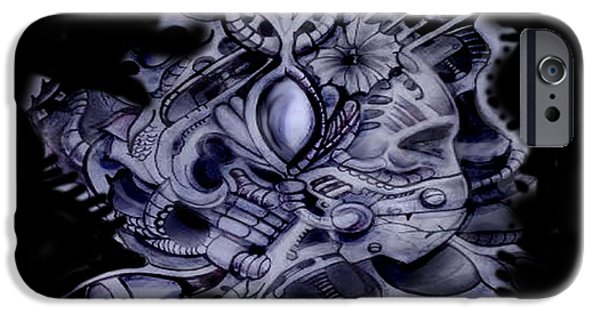 H.r. Giger iPhone Cases - Space statue iPhone Case by Chris Gill
