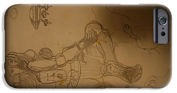 Waiter Drawings iPhone Cases - Space Waiter iPhone Case by David Gonzales