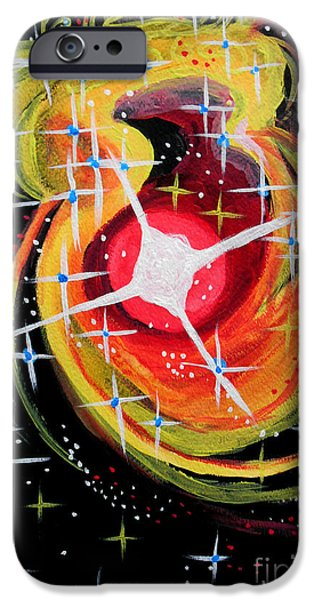 Outer Space Paintings iPhone Cases - Spacial Winds iPhone Case by Renee Boyett