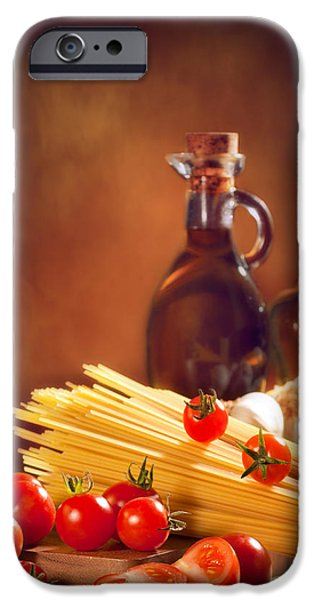 Meal iPhone Cases - Spaghetti Pasta With Tomatoes and Garlic iPhone Case by Amanda And Christopher Elwell