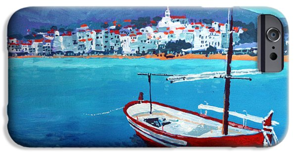 Buildings iPhone Cases - Spain Series 08 Cadaques Red Boat iPhone Case by Yuriy Shevchuk