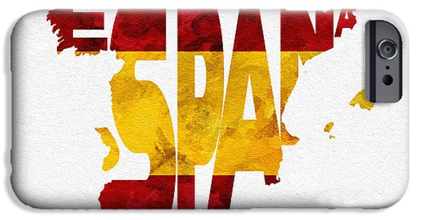Dirty iPhone Cases - Spain Typographic Map Flag iPhone Case by Ayse Deniz