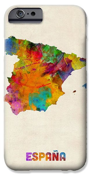 Spain iPhone Cases - Spain Watercolor Map iPhone Case by Michael Tompsett