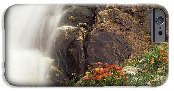 Descending iPhone Cases - Spalding Falls Grand Teton National iPhone Case by Panoramic Images